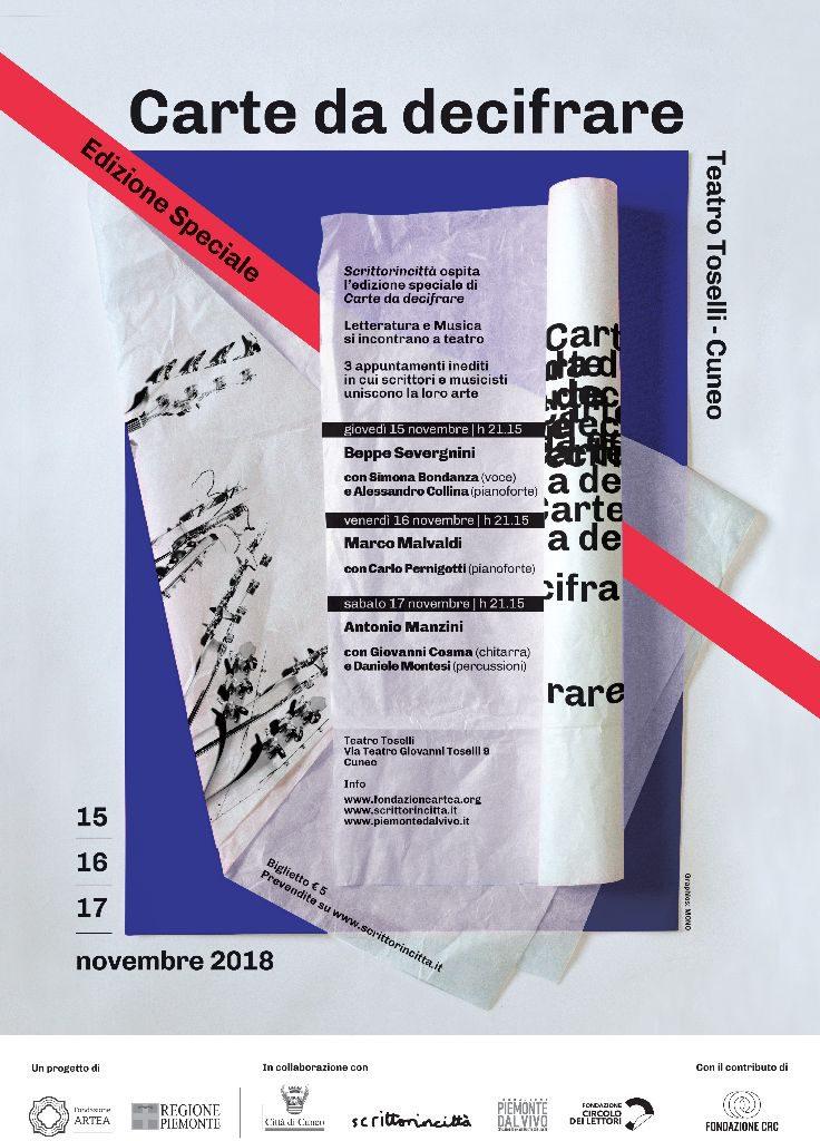 "La locandina di ""Carte da decifrare"" edizione speciale per Scrittorincittà"